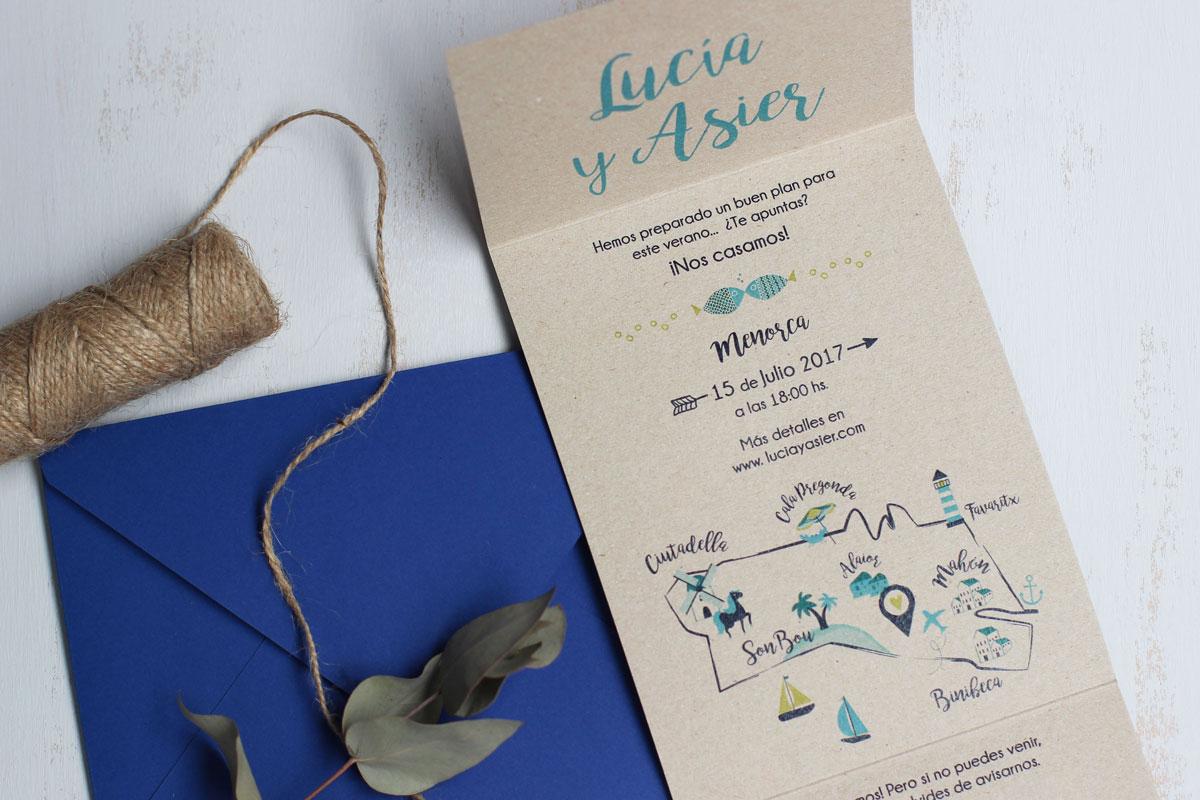 Diseño Editorial - Invitación de Boda Menorca